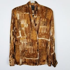 VTG ESCADA Margaretha Ley Wood Grain Silk Blouse 8